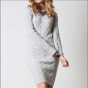 Dresses & Skirts - Blue/gray long sleeve sweater body on fitted dress